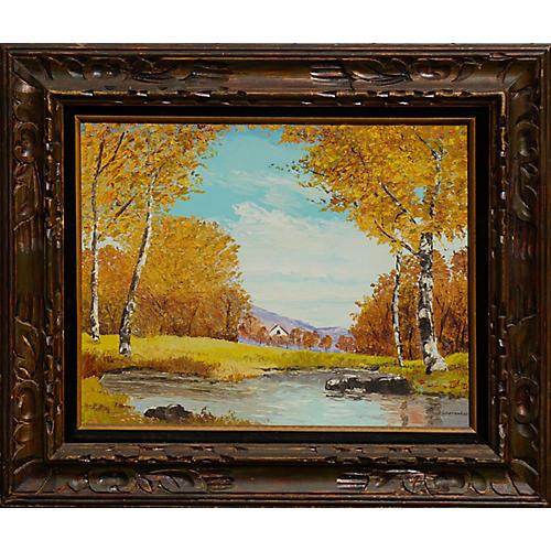 Autumn Birch Trees & Stream