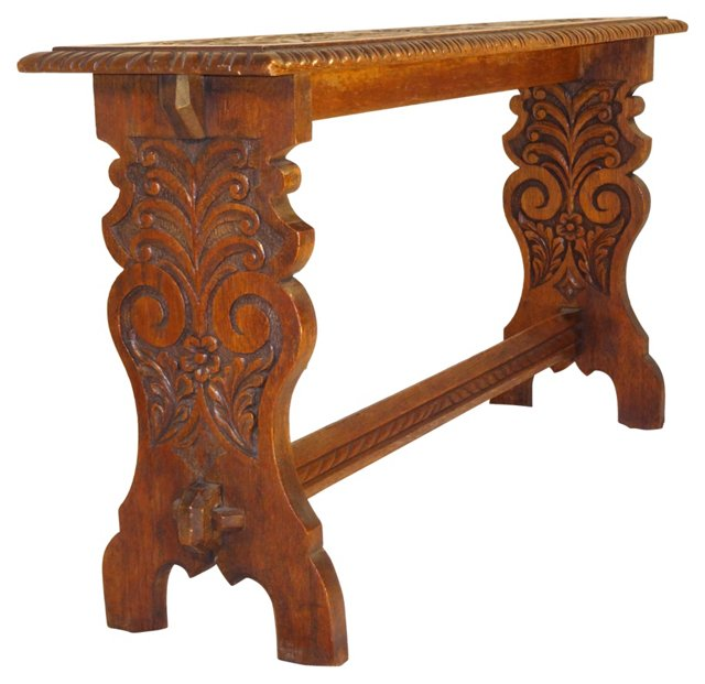 19th-C. English Carved Trestle Bench