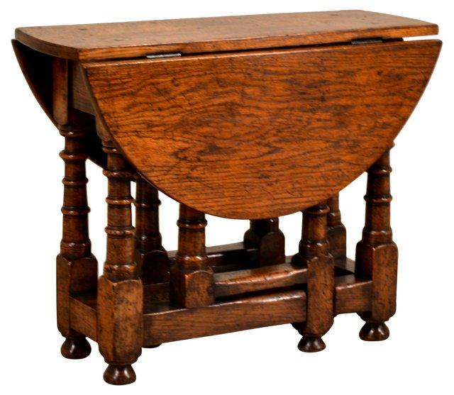 19th-C Ipswich Oak Gate-Leg Table