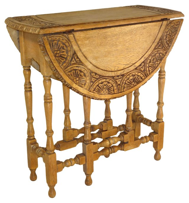 19th-C. English Oak Gate-Leg Table