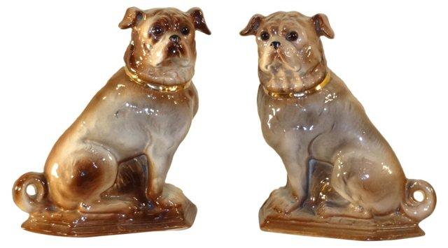 19th-C. Staffordshire Pugs, Pair