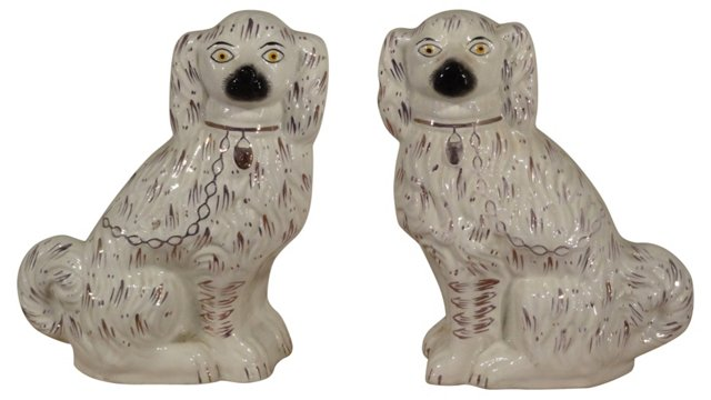 19th-C. Pink Luster Spaniels, Pair
