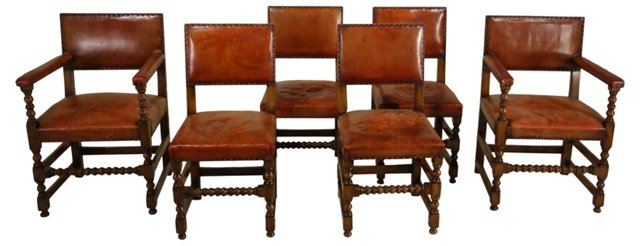 French Dining Chairs, C. 1910, Set of 6
