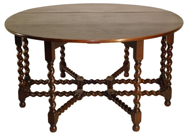 19th-C. English Twist Dining Table