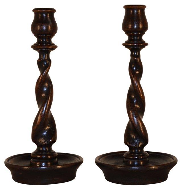 19th-C. Twist Candlesticks, Pair