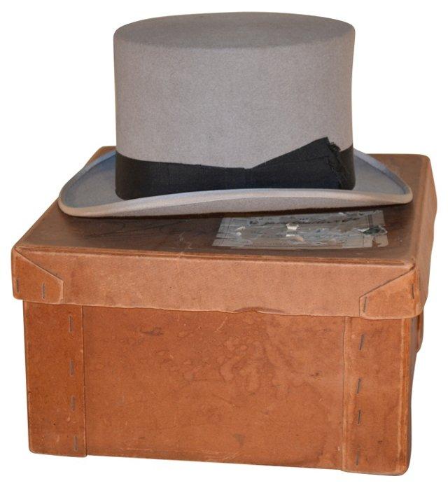 19th-C. English Top Hat & Box