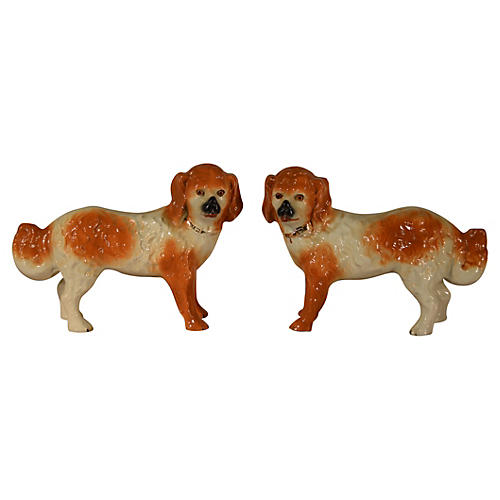 19th-C. Staffordshire Dogs, Pair