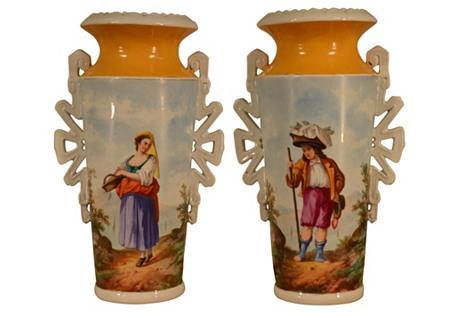 19th-C. Portrait Vases, Pair