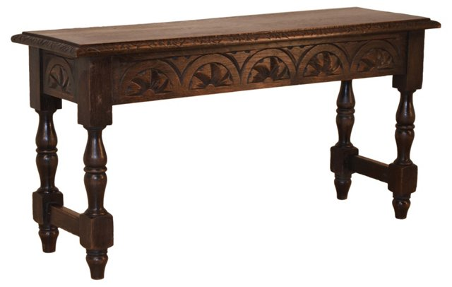 19th-C. English  Carved  Oak Bench