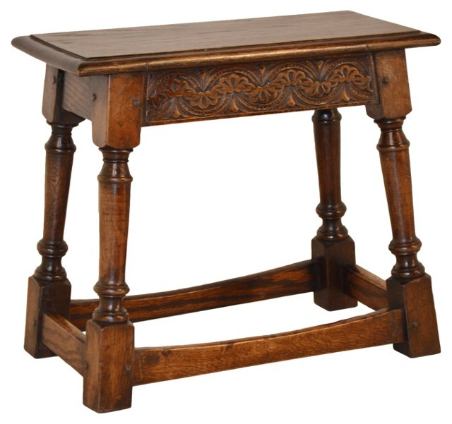 19th-C. English  Carved   Joint   Stool