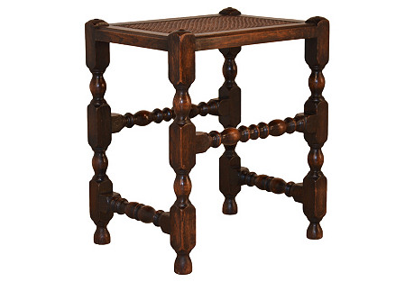 19th-C. English Cane-Top Stool