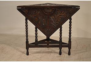 19th-C. Carved Handkerchief Table