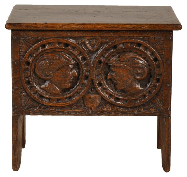 18th-C. English Lift-Top Stool
