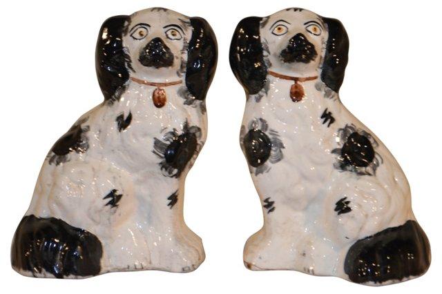 19th-C. English Staffordshire Dogs, Pair
