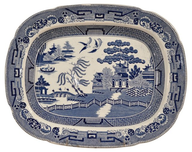 Blue Willow Platter, C.  1850