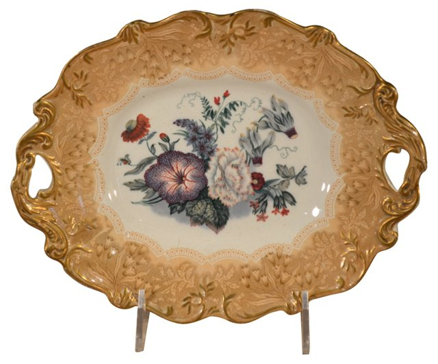 19th-C. Floral Serving Dish