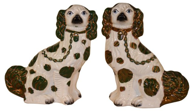 19th-C. Copper Staffordshire Dogs, Pair