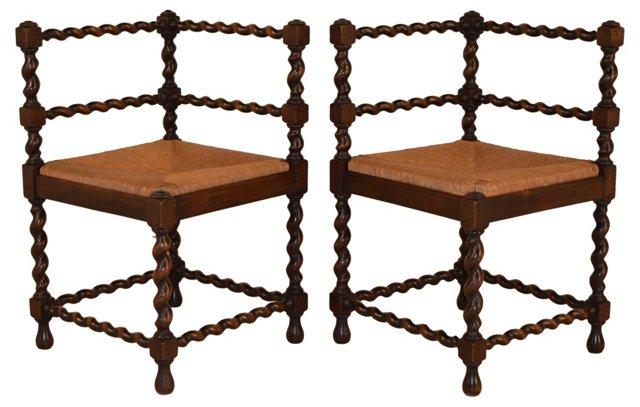19th-C.   English Corner Chairs, Pair