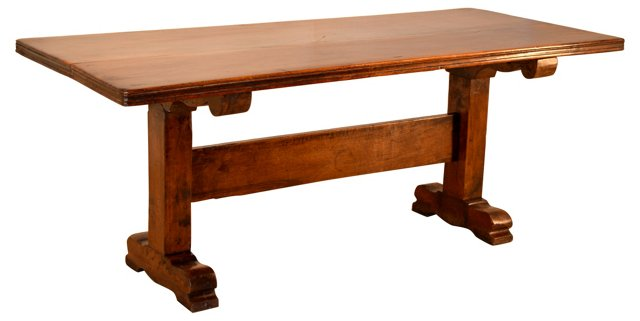 19th-C. French Walnut Dining Table