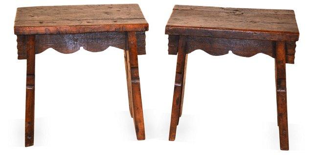 18th-C.  Bog Oak Benches, Pair
