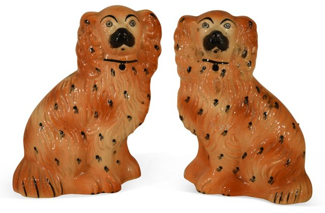 19th-C.  Brown English Dogs, Pair