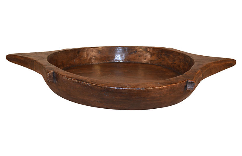 19th-C. Hand-Turned Fruitwood Bowl