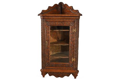 19th-C. English Oak Corner Floor Cabinet