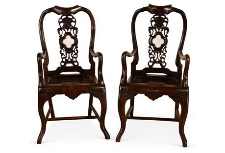 19th-C. Asian Armchairs,  Pair