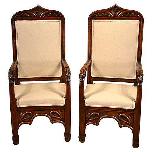 19th-C. English Gothic Chairs, Pair