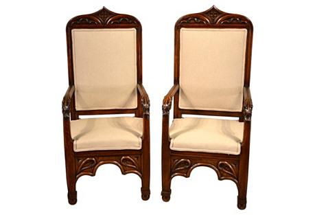 19th-C.  English Gothic Chairs, Pair