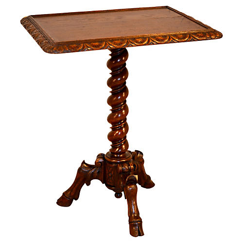 19th-C. French Pedestal Side Table