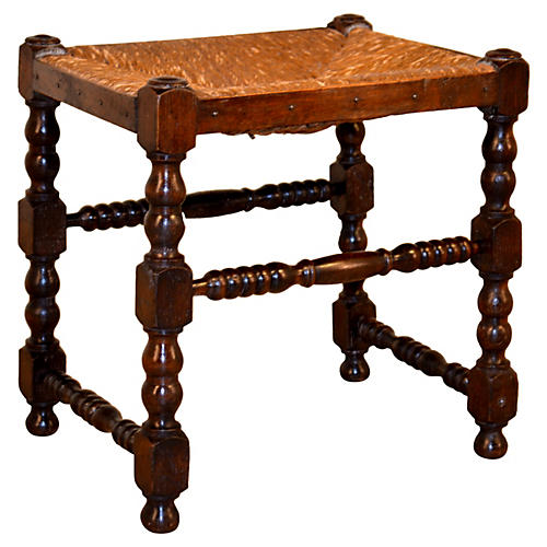 Early-19th-C. English Turned Stool
