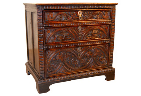 17th-C. English Oak Carved Chest