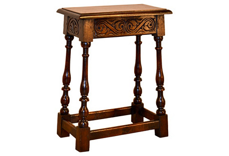 19th-C. English Carved Oak Stool