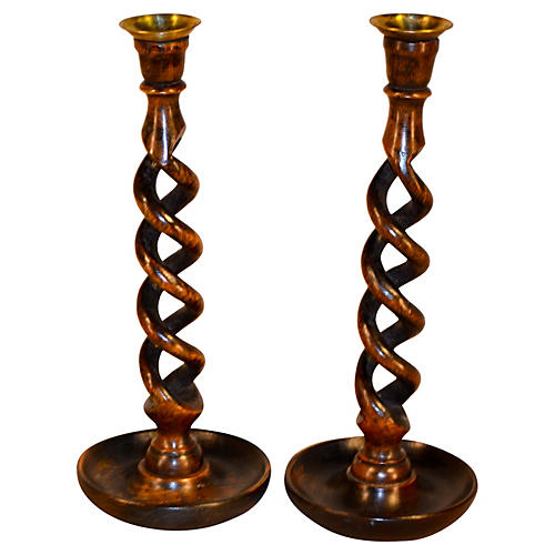 19th-C. Open-Twist Candlesticks, S/2