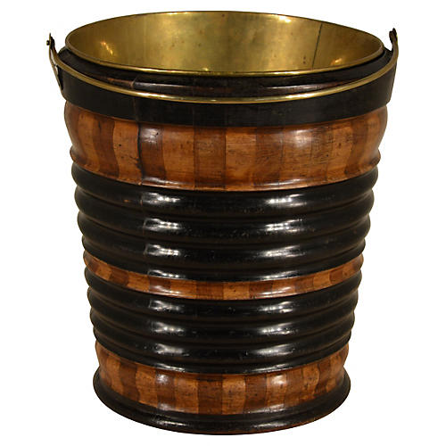 19th-C. Wooden Strapped Bucket