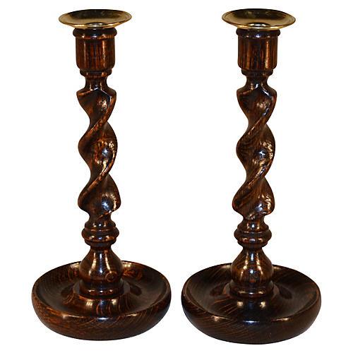 Oak Twisted Candlesticks, C.1900