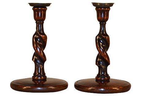 C. 1900 English Candlesticks, Pair