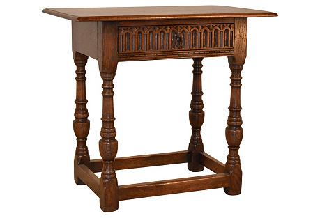 19th-C. English Oak Fluted Table