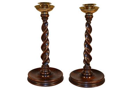19th-C. English Twist Candlesticks, Pr.