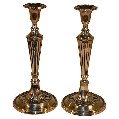 Georgian Brass Candlesticks, S/2