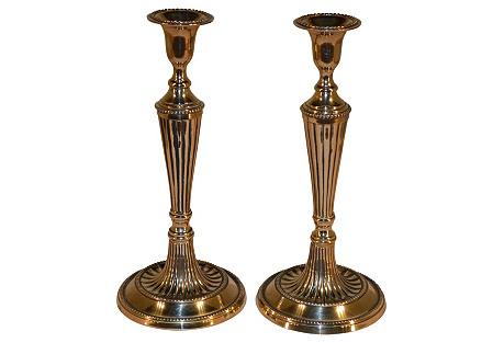 Georgian Brass Candlesticks, S/2