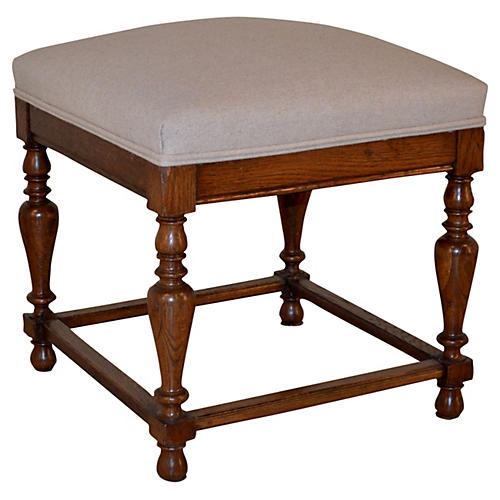 19th-C. English Upholstered Stool