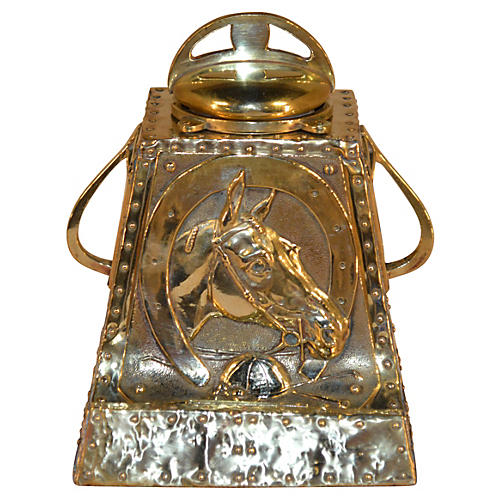 19th-C. Equestrian Inkwell & Pen Stand