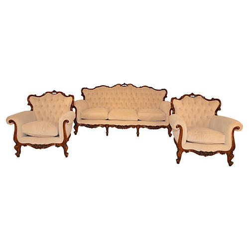 C. 1930 French Walnut Parlor Set, S/3