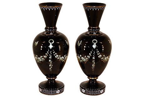 19th-C. Pair of Black Amethyst Vases