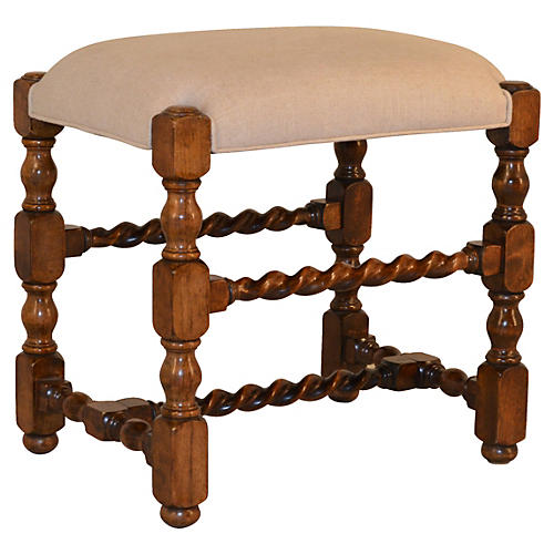 19th-C. English Oak Stool