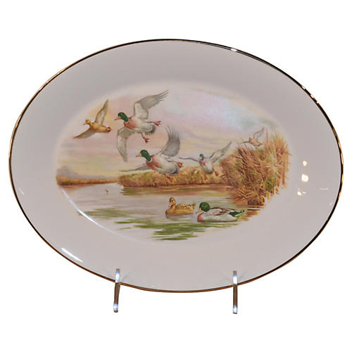 English Duck Transfer Platter, C. 1950