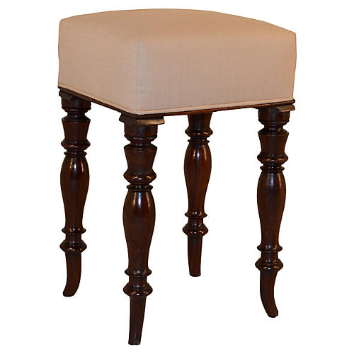 19th-C. Mahogany English Stool