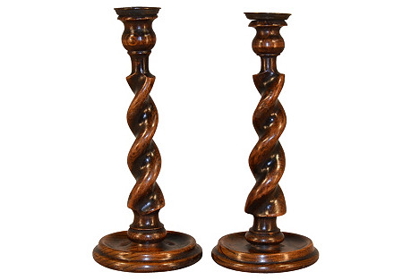 19th-C. English  Candlesticks, S/2